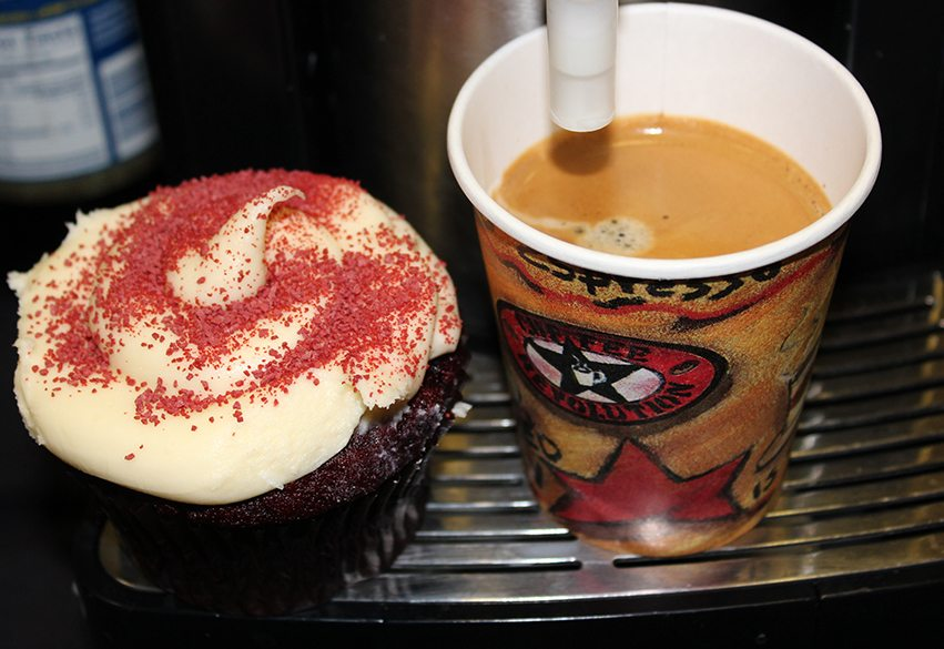 A delicious Red Velvet Cupcake paired with one of our Cappuccinos! Try both today!